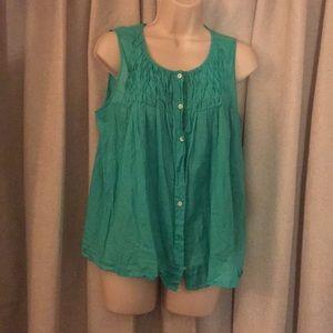 Jcrew green sleeveless blouse